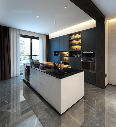 现代厨房橱柜餐厅组合3D模型【ID:57147405】