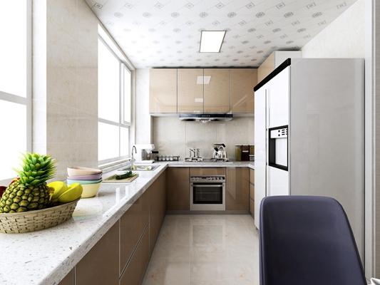 现代厨房橱柜3D模型【ID:57147707】