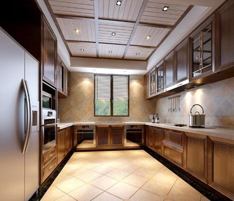中式厨房橱柜3d模型下载【ID:57148102】