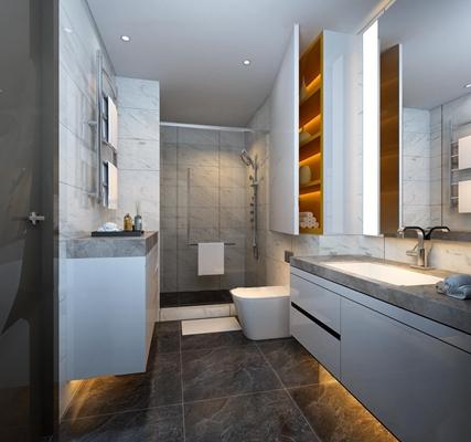 现代卫浴空间3D模型【ID:57148748】