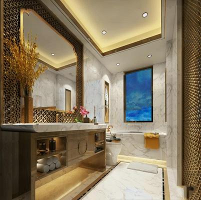 新中式卫浴空间3D模型【ID:519770408】