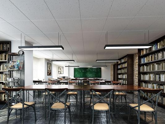 现代工业风格学校自习教室3D模型下载【ID:57157941】