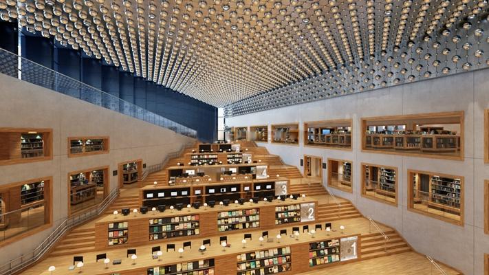 现代图书馆阅览空间3D模型下载【ID:57157944】