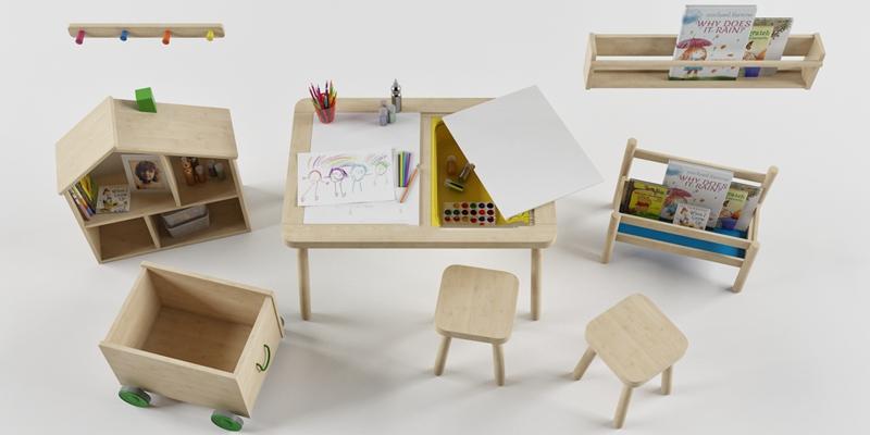 现代儿童装饰架桌椅组合3D模型下载【ID:57157946】