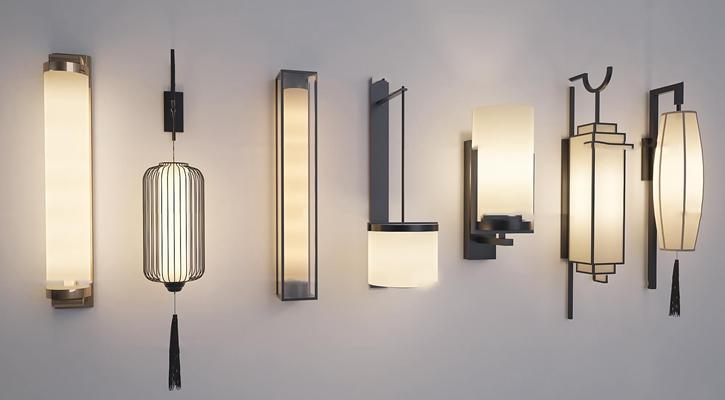 新中式壁灯组合3D模型【ID:57165993】