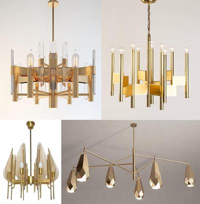 现代金属吊灯灯具组合3D模型【ID:57167087】