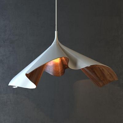 现代木纹吊灯3D模型【ID:57168089】
