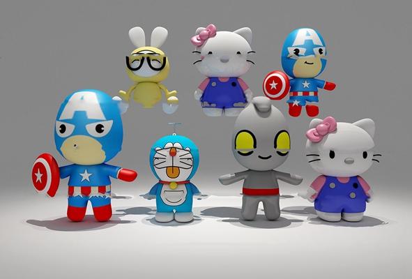 现代动漫人物组合3D模型【ID:57169172】