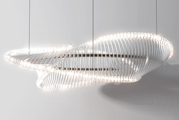 后现代螺旋玻璃吊灯3D模型【ID:57172489】