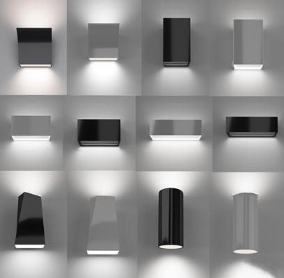 现代金属壁灯组合3D模型【ID:57173993】
