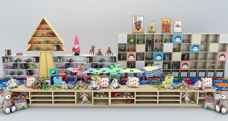 现代儿童玩具柜架摆件组合3d模型【ID:57174870】