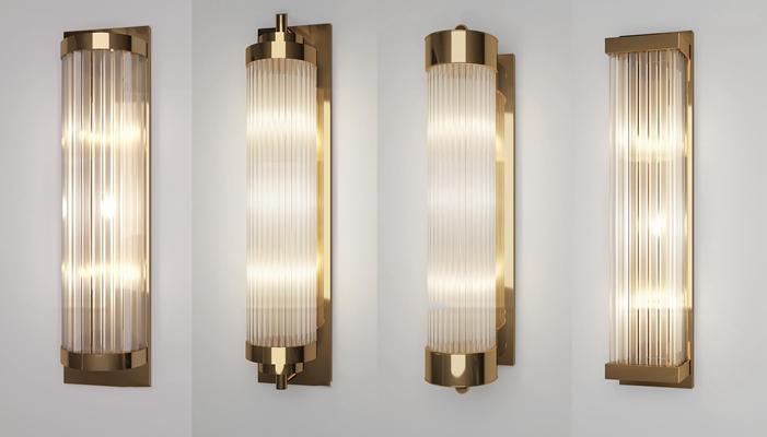 现代金属水晶壁灯组合3D模型【ID:57175298】