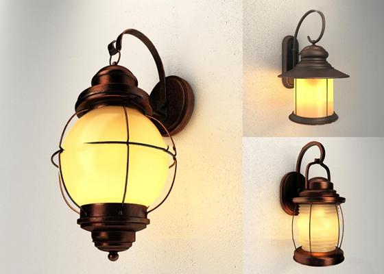 工业风复古金属壁灯组合3D模型【ID:57178692】