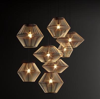 新中式木质吊灯3d模型【ID:57186880】