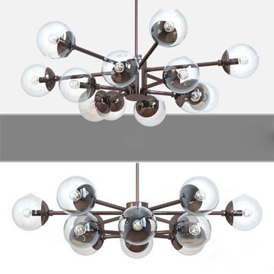 现代金属玻璃灯泡吊灯3D模型【ID:519708800】