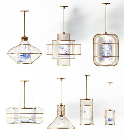 新中式青花瓷金属吊灯组合3D模型【ID:57191486】