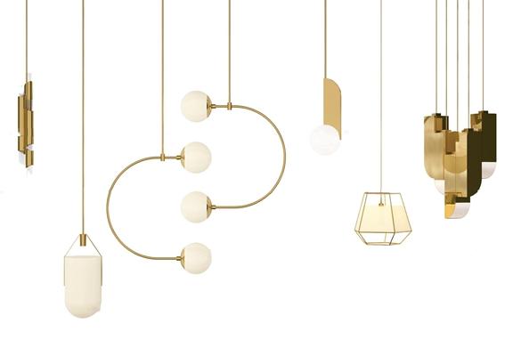 现代吊灯灯具组合3d模型【ID:519708896】