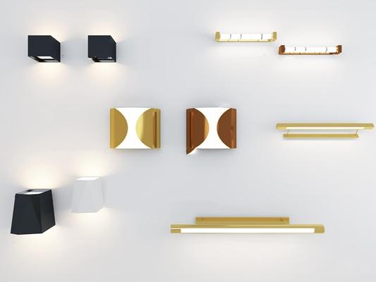 现代壁灯镜前灯组合3D模型【ID:57193991】