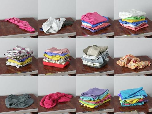 现代服装衬衣围巾组合3D模型【ID:57196014】