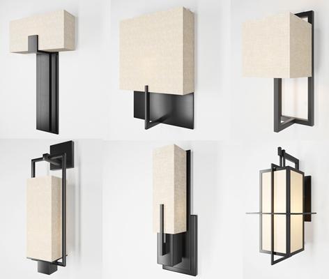 新中式金属壁灯组合3D模型【ID:57196794】