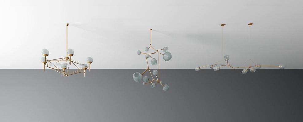 现代玻璃吊灯组合3D模型【ID:57209985】