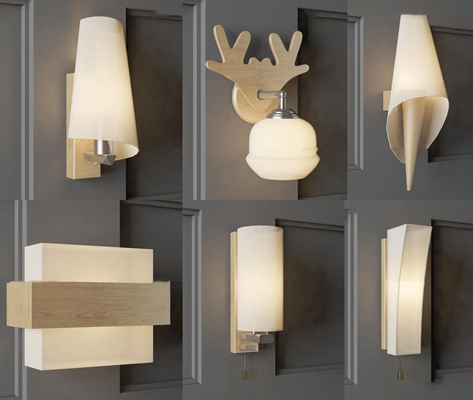 北欧木质壁灯组合3d模型【ID:57216094】