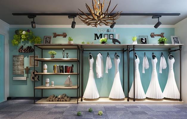 工业风婚纱衣架装饰架摆件组合3D模型【ID:57218615】