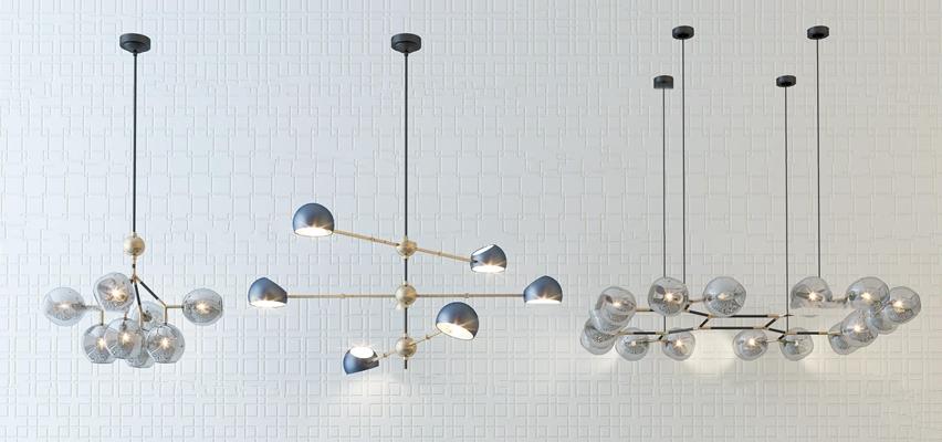 现代时尚吊灯灯具组合3D模型【ID:57227587】