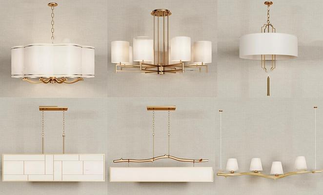 新中式金属吊灯组合3D模型【ID:57228888】