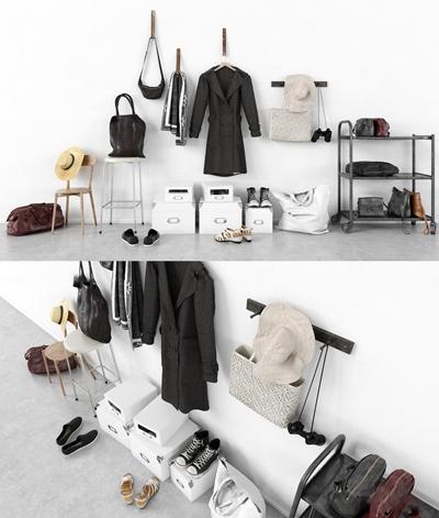 现代风衣皮包鞋架鞋盒帽子组合3D模型【ID:57229010】