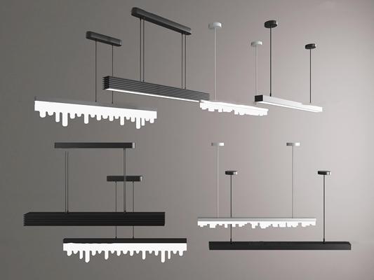 现代金属办公吊灯组合3D模型【ID:57229188】