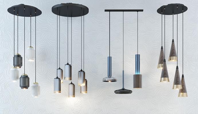 现代时尚吊灯灯具组合3D模型【ID:57229882】