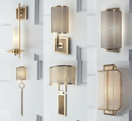 新中式金属壁灯组合3D模型【ID:57232392】