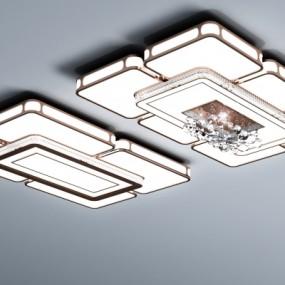 现代长方形水晶吸顶灯组合3D模型【ID:627805078】