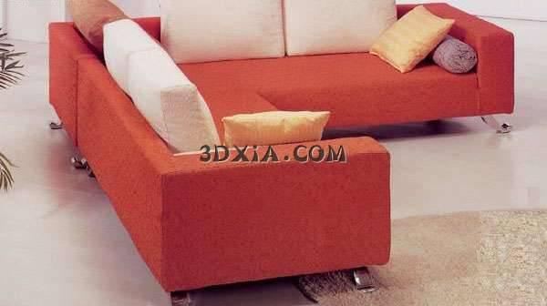 现代家具3D模型-漂亮的红色拐角沙发【ID:5746】