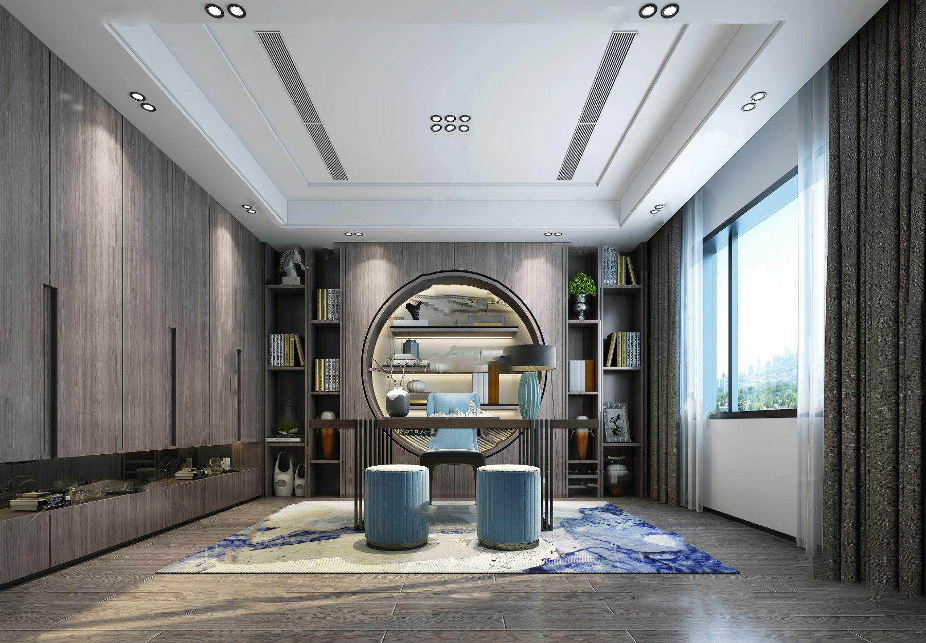 新中式书房3D模型【ID:543757412】