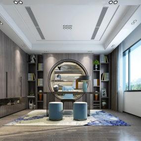 新中式書房3d模型【ID:543757412】