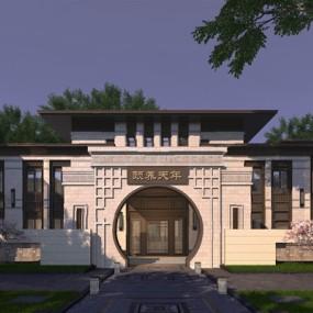新中式建筑3D模型【ID:126234216】