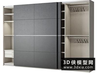 现代衣柜国外3D模型【ID:829390040】