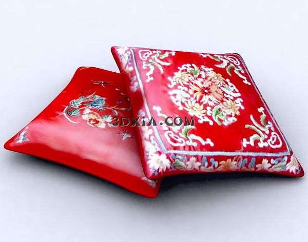中式红色绣花枕头3D模型【ID:5793】