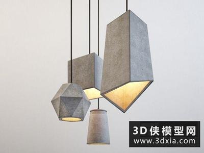 北欧水泥吊灯国外3D模型【ID:829658706】