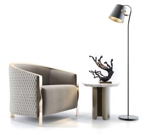 现代单人沙发圆几落地灯组合3D模型【ID:927821636】
