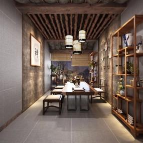 新中式茶室3D模型【ID:327925757】