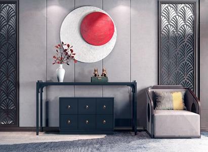 新中式沙發端景臺背景組合3D模型【ID:134270148】