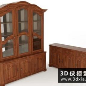 欧式木质成品酒柜国外3D模型【ID:829342070】
