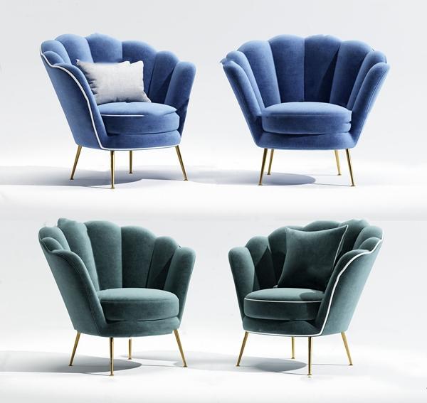 簡歐布藝單人沙發3D模型【ID:648245425】