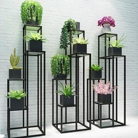 现代简洁框架式植物花架组合3D模型【ID:828126674】