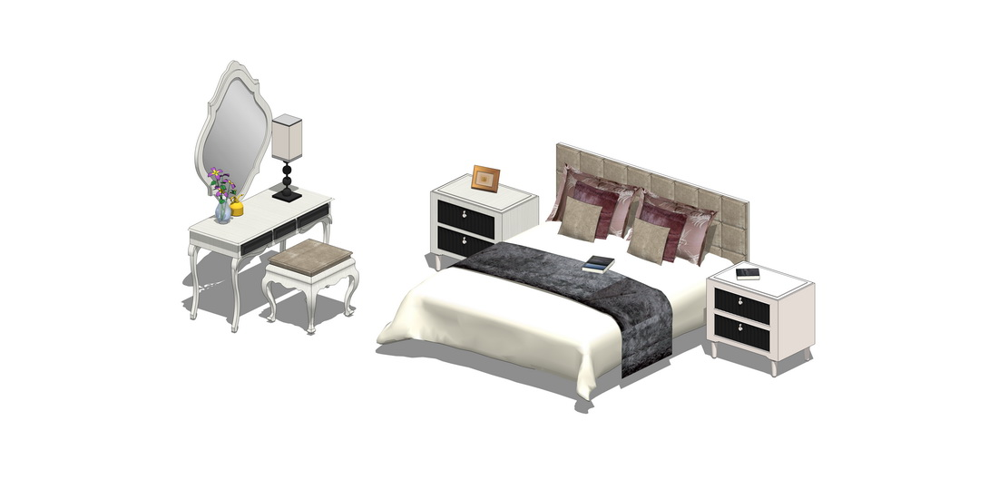 歐式雙人床梳妝臺組合SU模型【ID:536388213】