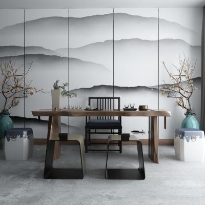 中式实木茶几椅子凳子摆件组合3D模型【ID:927837691】