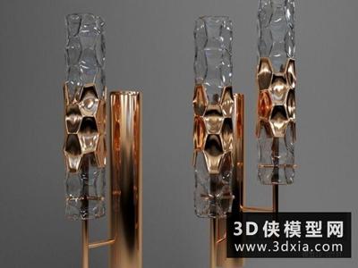 現代金属壁燈国外3D模型【ID:829409835】